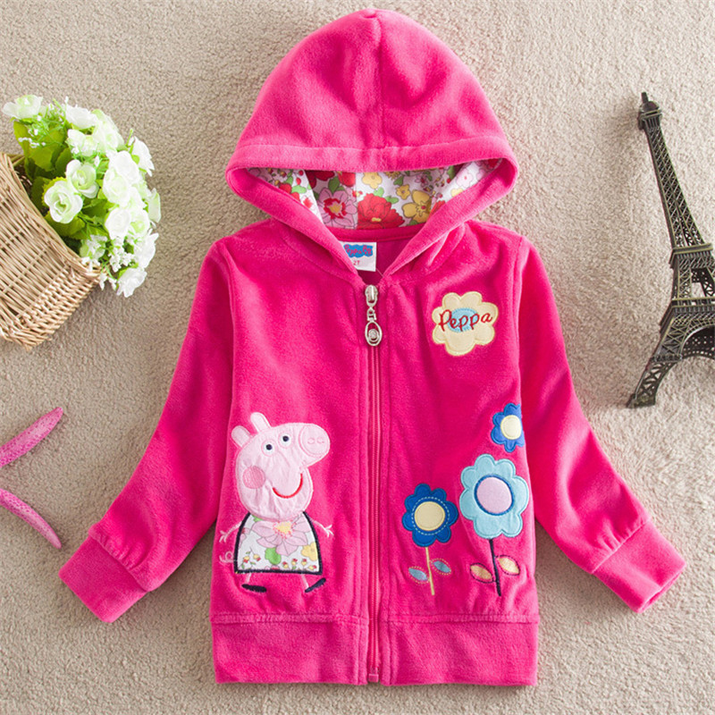 Toddler Kids Girl Print Peppa Pig Flowers Zipper Outerwear Coats