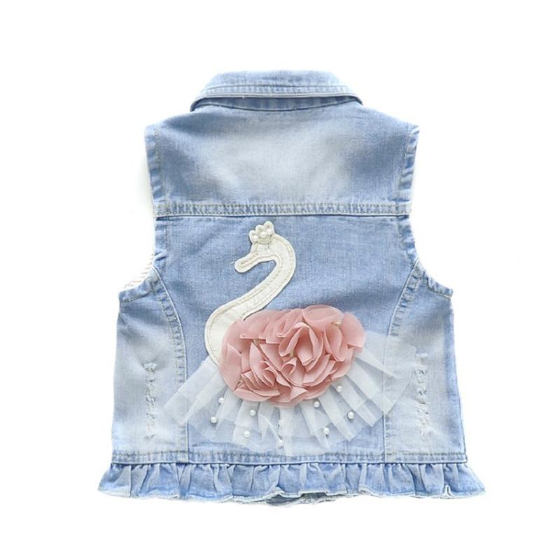 Toddler Kids Girl Print Pink Flower Pearls Swan Denim Vest Jacket Outerwear