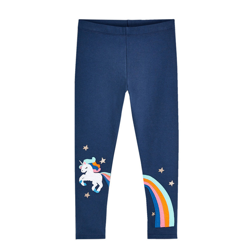 Toddler Kid Girl Embroideried Unicorn Rainbows Stars Cotton Leggings Pants
