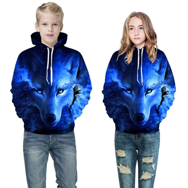 Toddler Kids Boy Girl 3D Print Wolf Hooded Sweatshirts