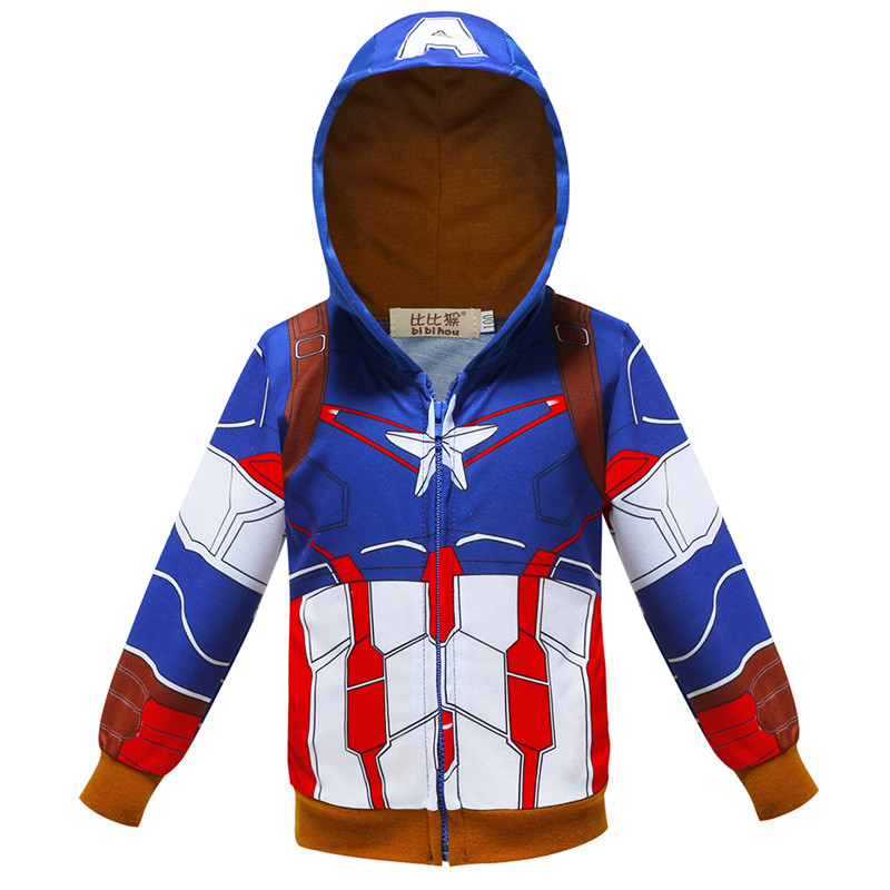 Toddler Kids Boy Marvel Superhero Captain America Hooded Outerwear Coats