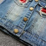 Toddler Kids Girl Sequins Owl Denim Vest Jacket Outerwear
