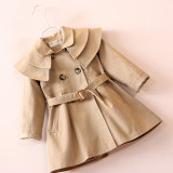 Toddler Kids Girl Solid Cotton Double Collar Windbreaker Outerwear Coats