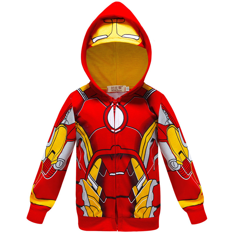 Toddler Kids Boy Marvel Superhero Iron Man Hooded Outerwear Coats