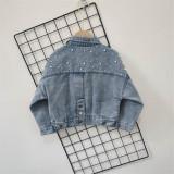 Toddler Kids Girl Pearl Denim Jacket Outerwear