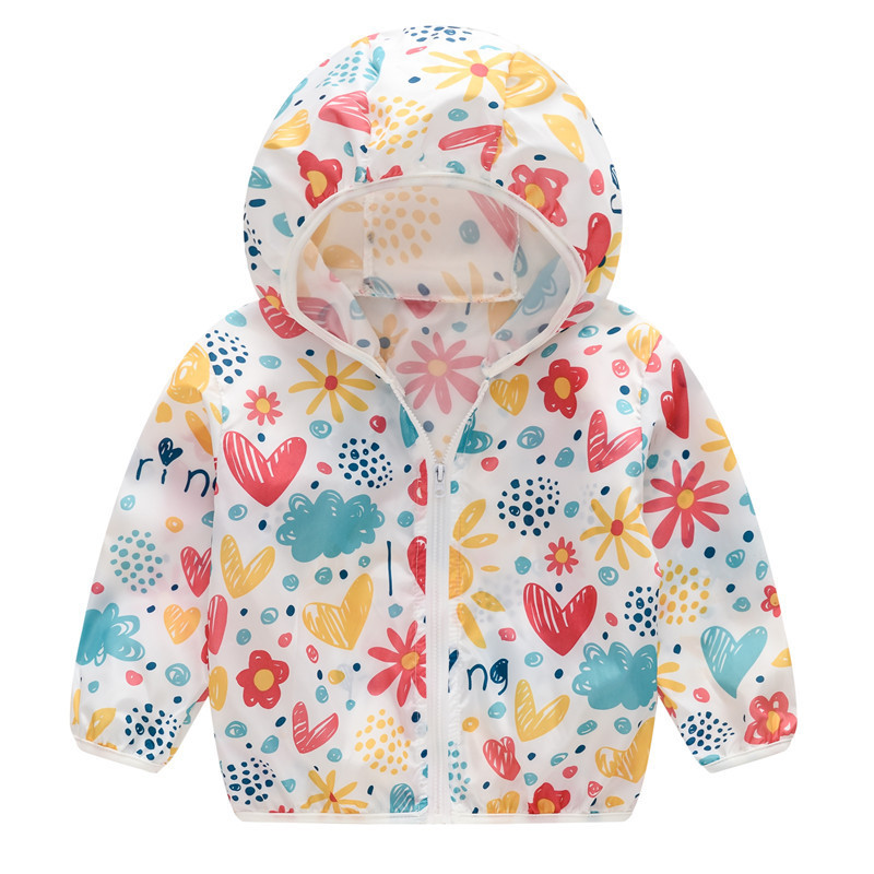 Toddler Kids Girl Print Flowers Breathable Lightweight Sunscreen Outerwear Coats