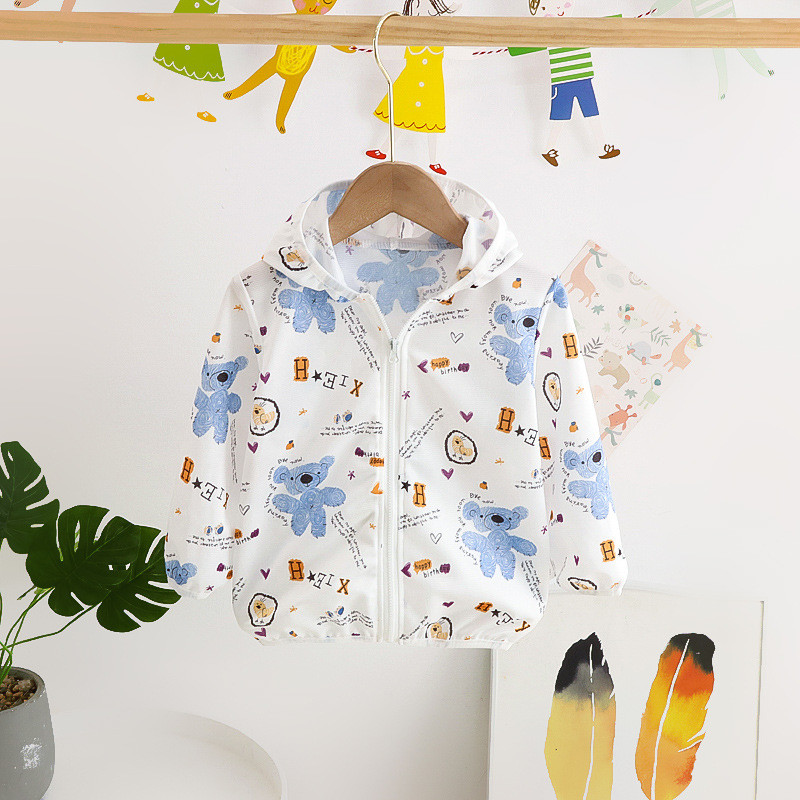 Toddler Kids Girl Print Bears Breathable Lightweight Sunscreen Outerwear Coats