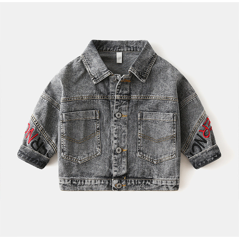 Toddler Kids Boy Print Letters Denim Jacket Outerwear