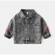 Toddler Kids Boy Print Letters Denim Jacket Outerwear