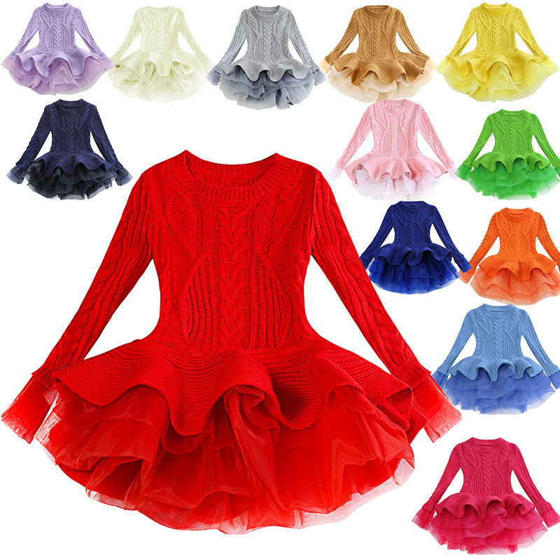 Toddler Kids Girl Knit Pullover Ruffled Skirt Sweater Dress