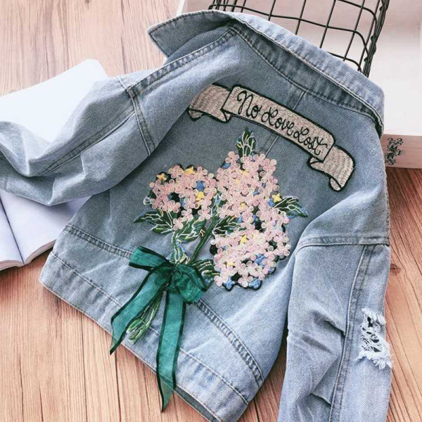 Toddler Kids Girl Embroidery Flowers Bowknot Denim Jackets Outerwear