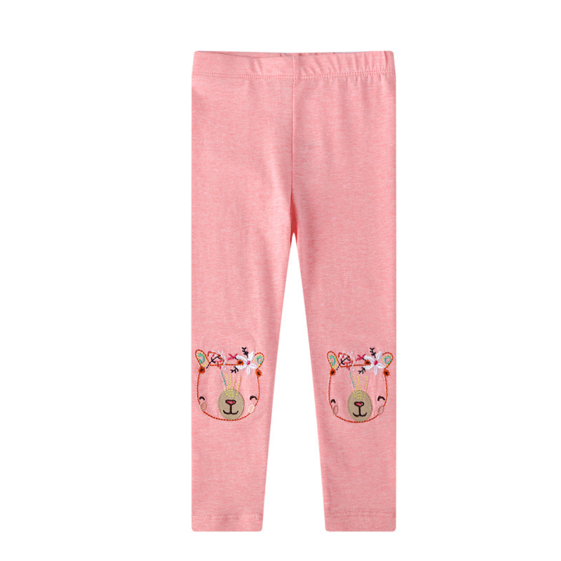 Toddler Kid Girl Embroidery Bear Flowers Cotton Leggings Pants