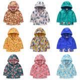 Toddler Kids Girl Print Flowers Windproof Rainproof Zipper Outerwear Coats