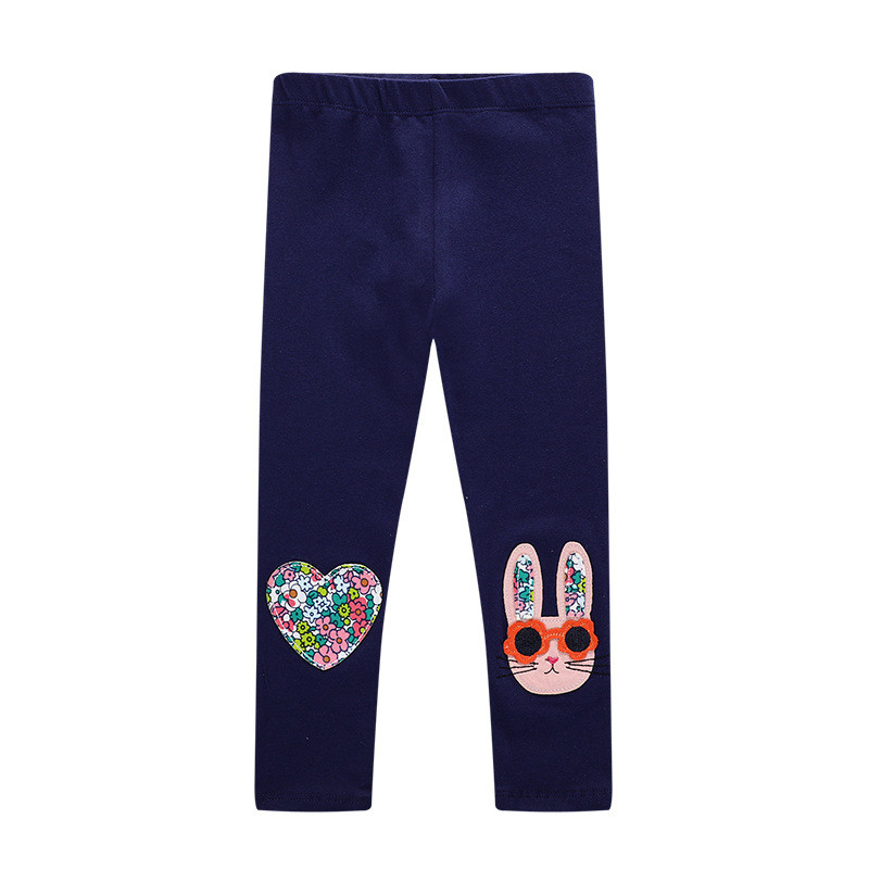 Toddler Kid Girl Embroidery Rabbit Flowers Cotton Leggings Pants