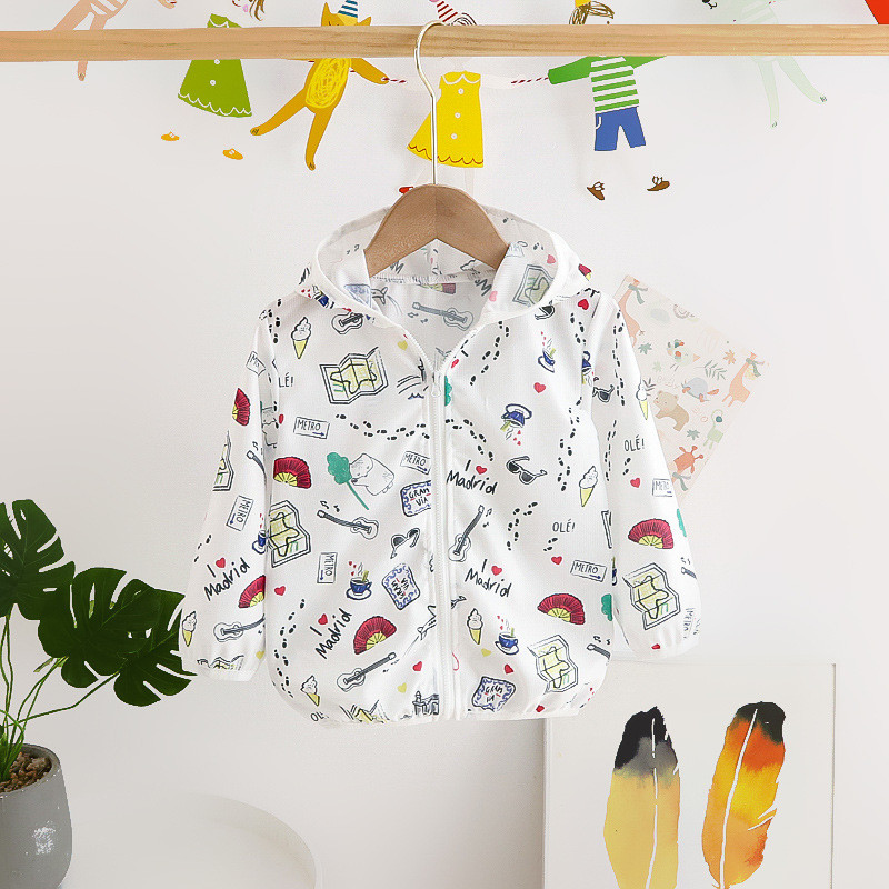 Toddler Kids Boy Print Guitar Fan Breathable Lightweight Sunscreen Outerwear Coats