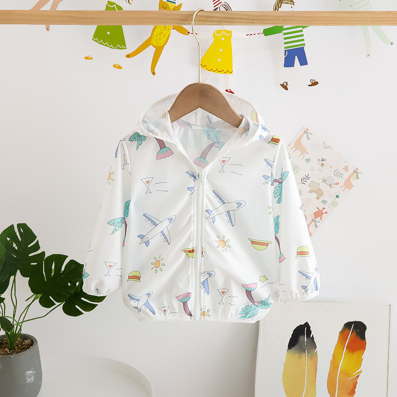 Toddler Kids Boy Print Airplanes Breathable Lightweight Sunscreen Outerwear Coats