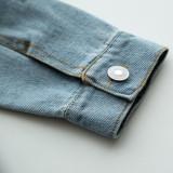 Toddler Kids Print Beauty Girl Hot Drill Sequins Holed Denim Jacket Outerwear