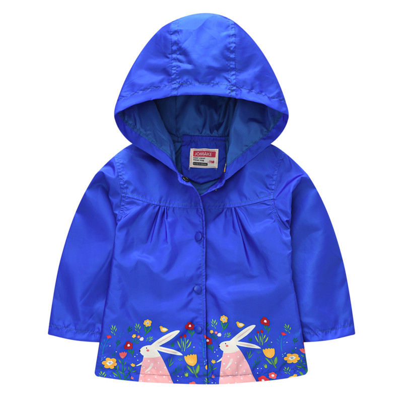Toddler Kids Girl Print Flowers Rabbits Windproof Rainproof Zipper Outerwear Coats