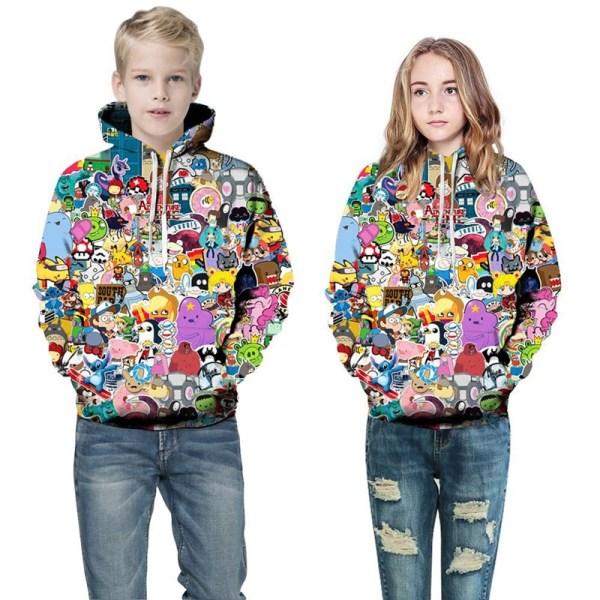 Toddler Kids Girl Boy 3D Print Cartoon Hooded Sweatshirts