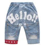 Toddler Boys Print Hello Letters Denim Summer Shorts