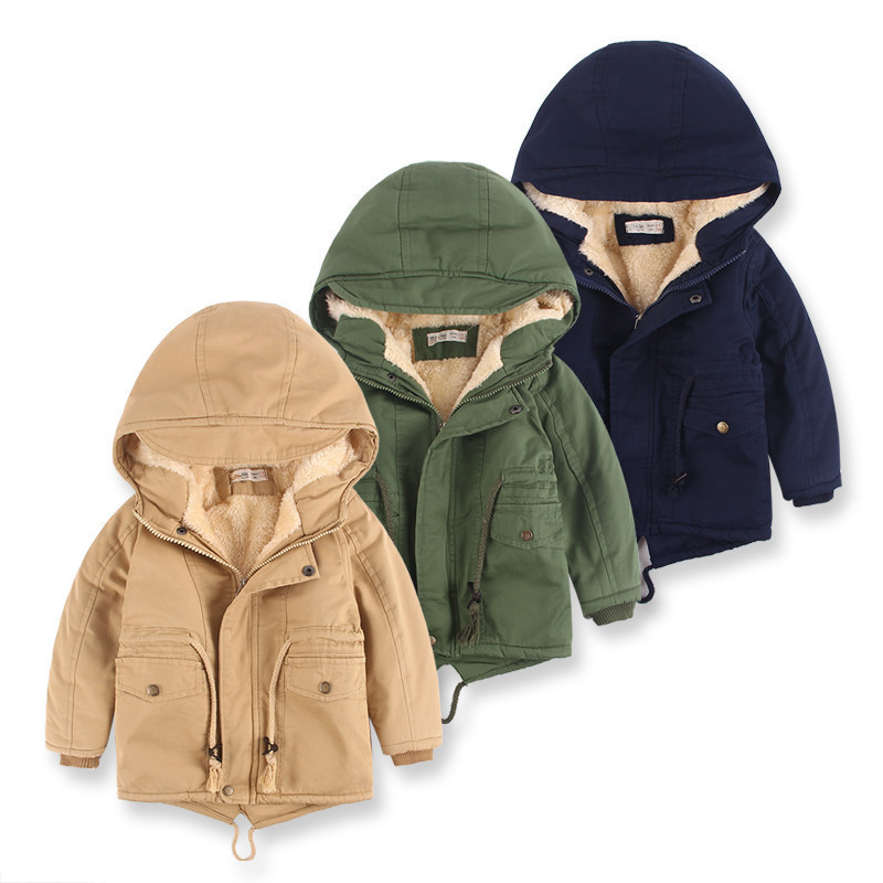 Toddler Kids Boy Windbreaker Hooded Jacket Cotton Padded Warm Outerwear