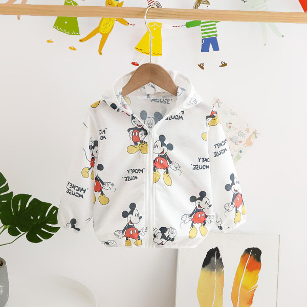 Toddler Kids Boy Print Mickey Mouse Breathable Lightweight Sunscreen Outerwear Coats