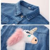 Toddler Kids Girl Unicorn Sequin Love Denim Jacket Outerwear