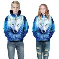 Toddler Kids Girl Boy 3D Print Blue Wolf Hooded Sweatshirts