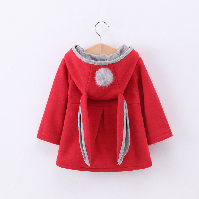 Toddler Kids Girl Rabbit Ears Windbreaker Cotton Hooded Outerwear Coats