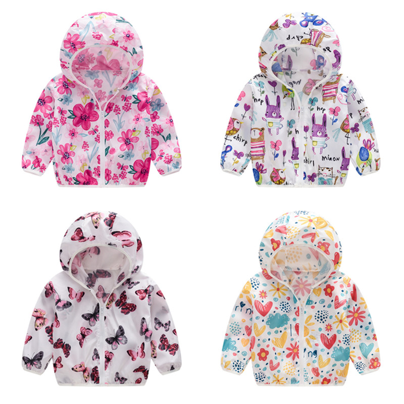 Toddler Kids Girl Print Pink Butterflies Breathable Lightweight Sunscreen Outerwear Coats