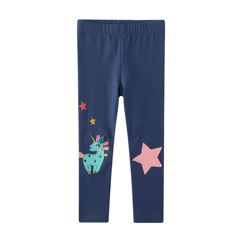 Toddler Kid Girl Embroidery Unicorn Stars Cotton Leggings Pants