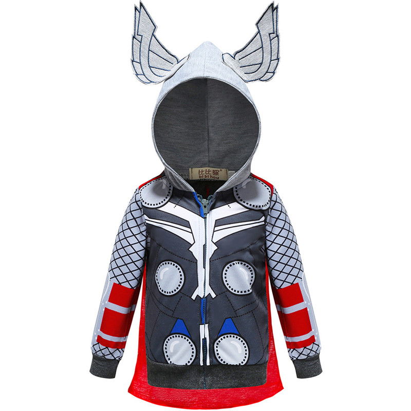 Toddler Kids Boy Marvel Superhero Thunder God Hooded Outerwear Coats