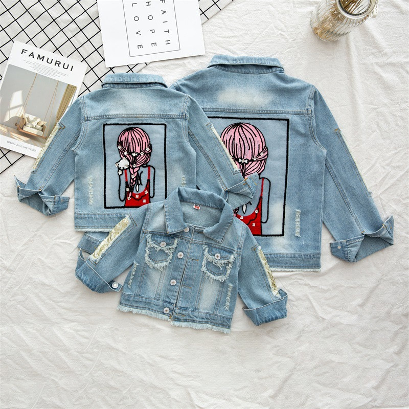 Toddler Kids Print Beauty Girl Hot Drill Sequins Holed Denim Jacket Outerwear