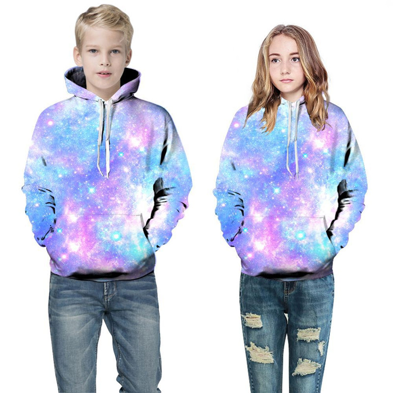 Toddler Kids Boy 3D Print Starry Sky Hooded Sweatshirts