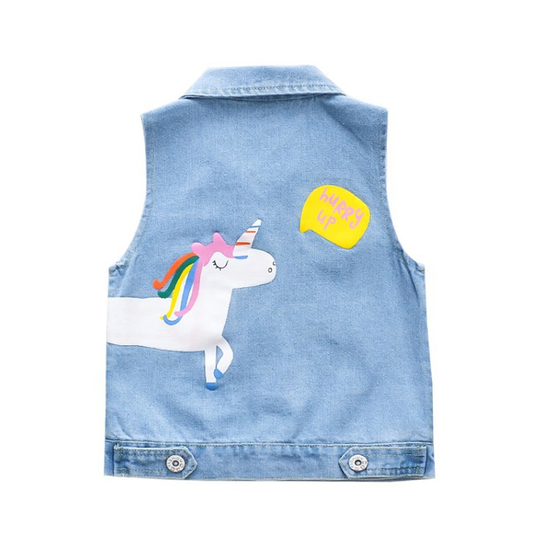 Toddler Kids Girl Print Unicorn Letter Denim Vest Jacket Outerwear