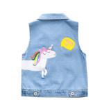 Toddler Kids Girl Print Unicorn Letter Denim Vest Jacket Outerwear