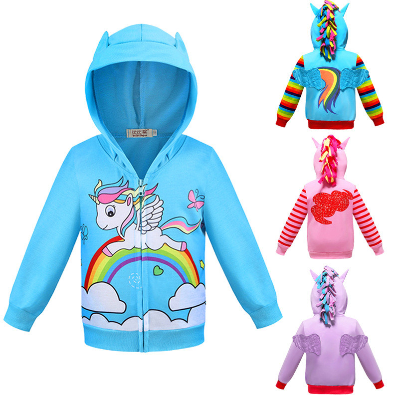 Toddler Kids Girl 3D Pony Rainbow Zipper Hooded Outerwear Coats