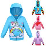 Toddler Kids Girl 3D Pony Rainbow Zipper Hooded Outerwear Coats