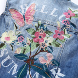 Toddler Kids Girl Embroidered Butterfly Flowers Vest Denim Jacket Outerwear