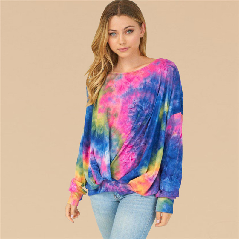 Women Tie-Dye Round Neck Long Sleeves Sweatshirt Tops