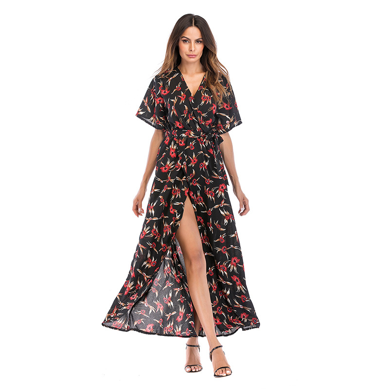 Women Floral Print Split V-neck Wrap Maxi Dress