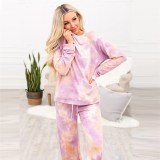 Women Tie-Dye With Drawstring Long Sleeves Home Casual Lounge Sets
