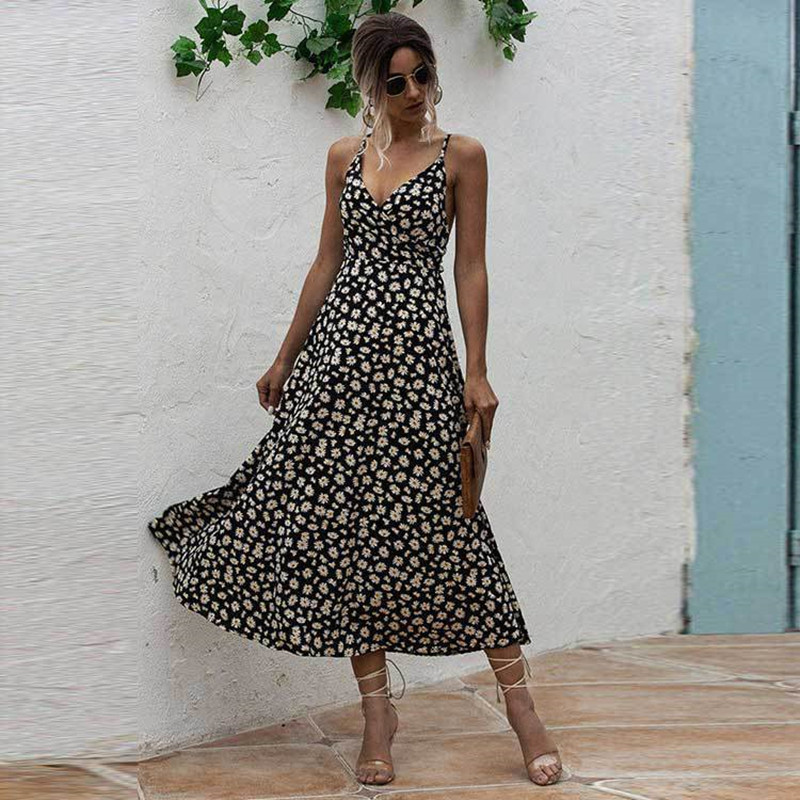Wome Floral Print High Waist V-neck Slip Backless Maxi Dress