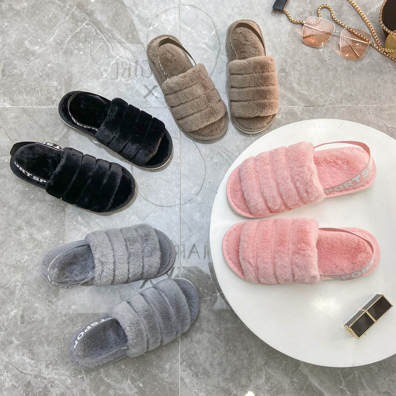 Toddlers Kids Pure Color Flannel Warm Winter Home House Open Toe Slippers For Kids and Parents