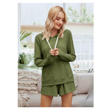 Women Hooded Pullover Long Sleeve Sweatshirt Tops and Shorts Home Casual Lounge Sets