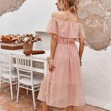 Women Off The Shoulder High Waist Lace Dress