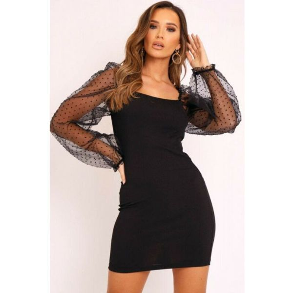 Women Square Collar Mesh Longe Sleeves Bodycon Mini Dress