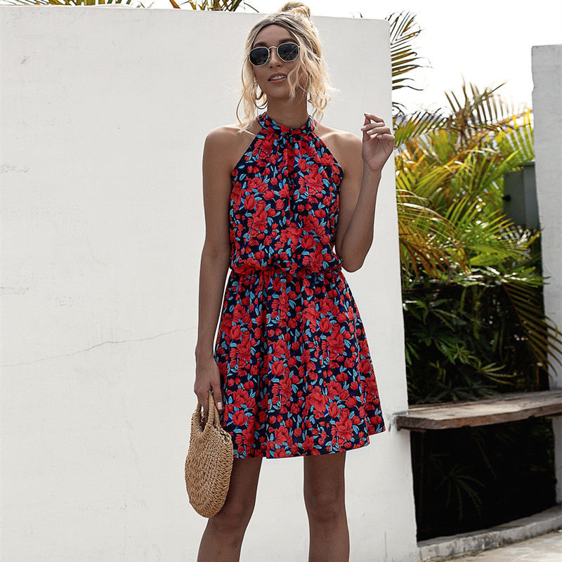 Women Floral Print Halter Sleeveless Mini Dress