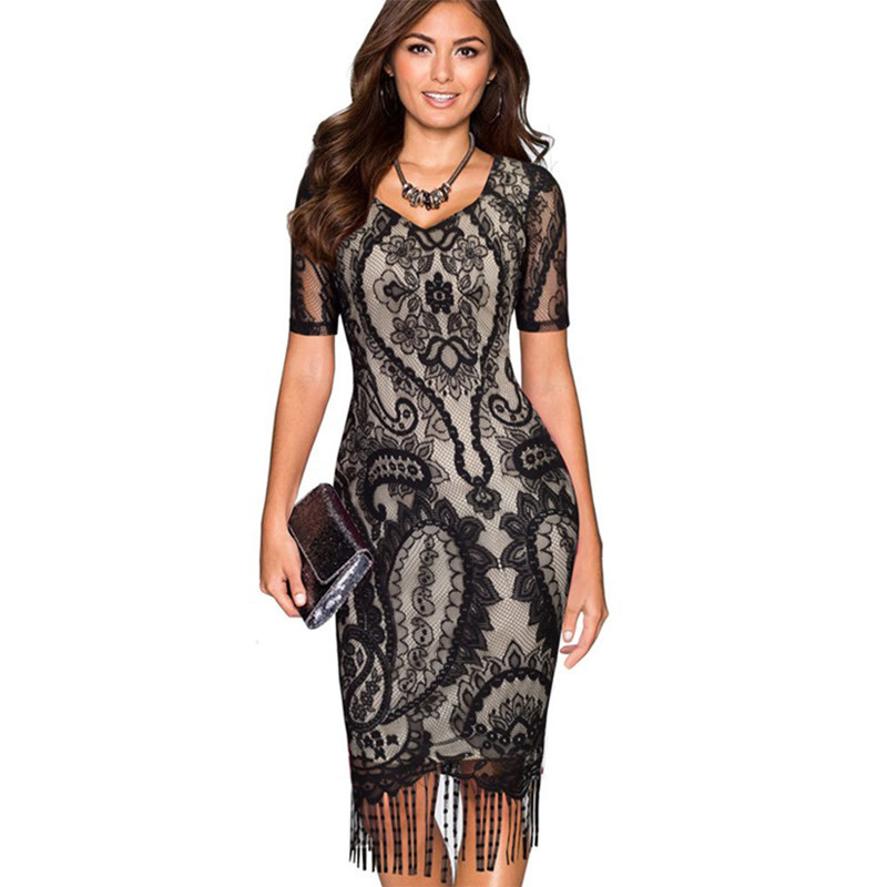 Women Lace Tassels Fringed Bodycon Dress