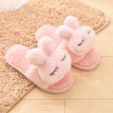 Toddlers Kids Cute Rabbit Warm Winter Home House Open Toe Slippers For Kids and Parents